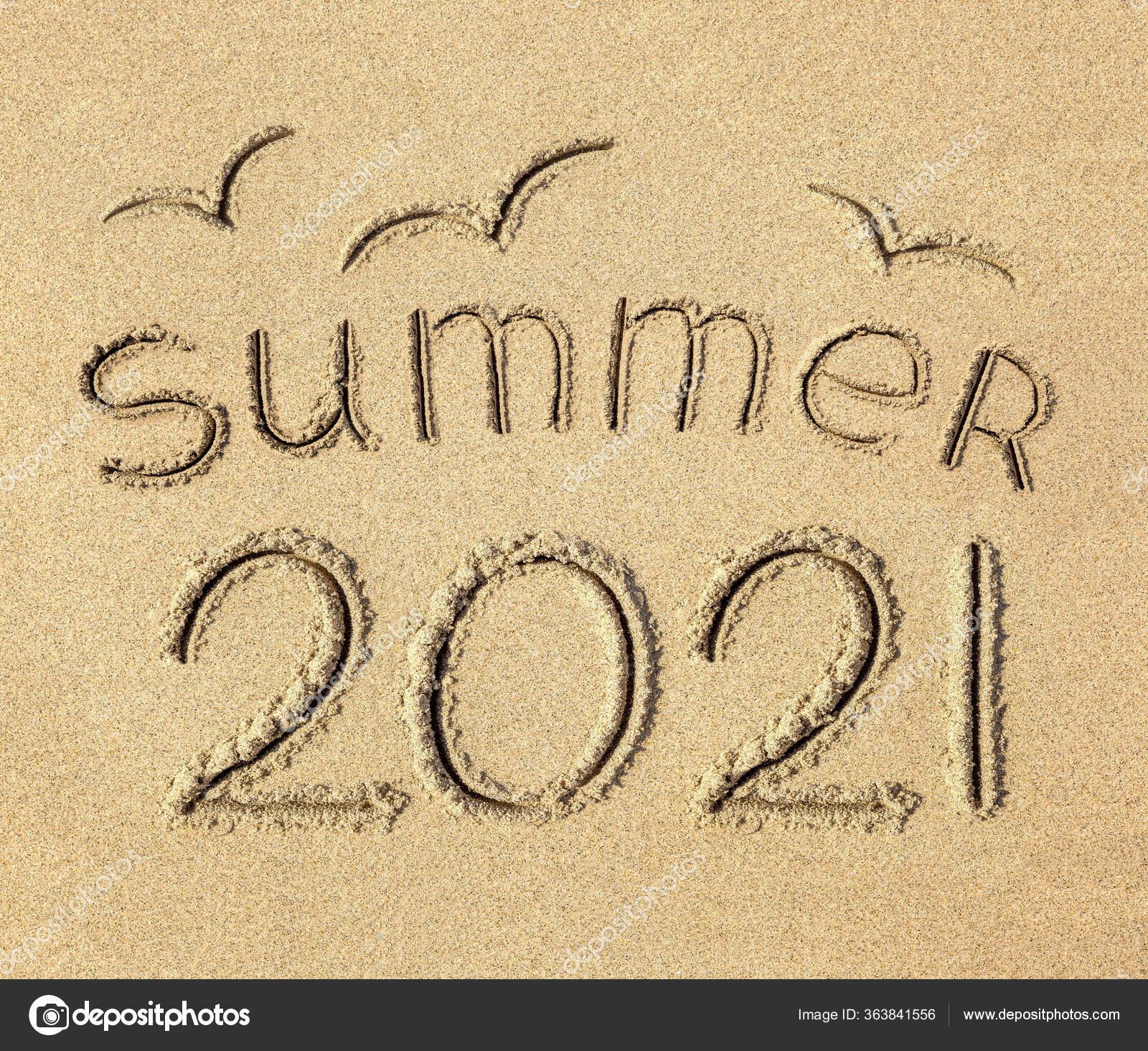Inscription Sandy Beach Summer 2021 ⬇ Stock Photo, Image by © blurAZ1  #363841556