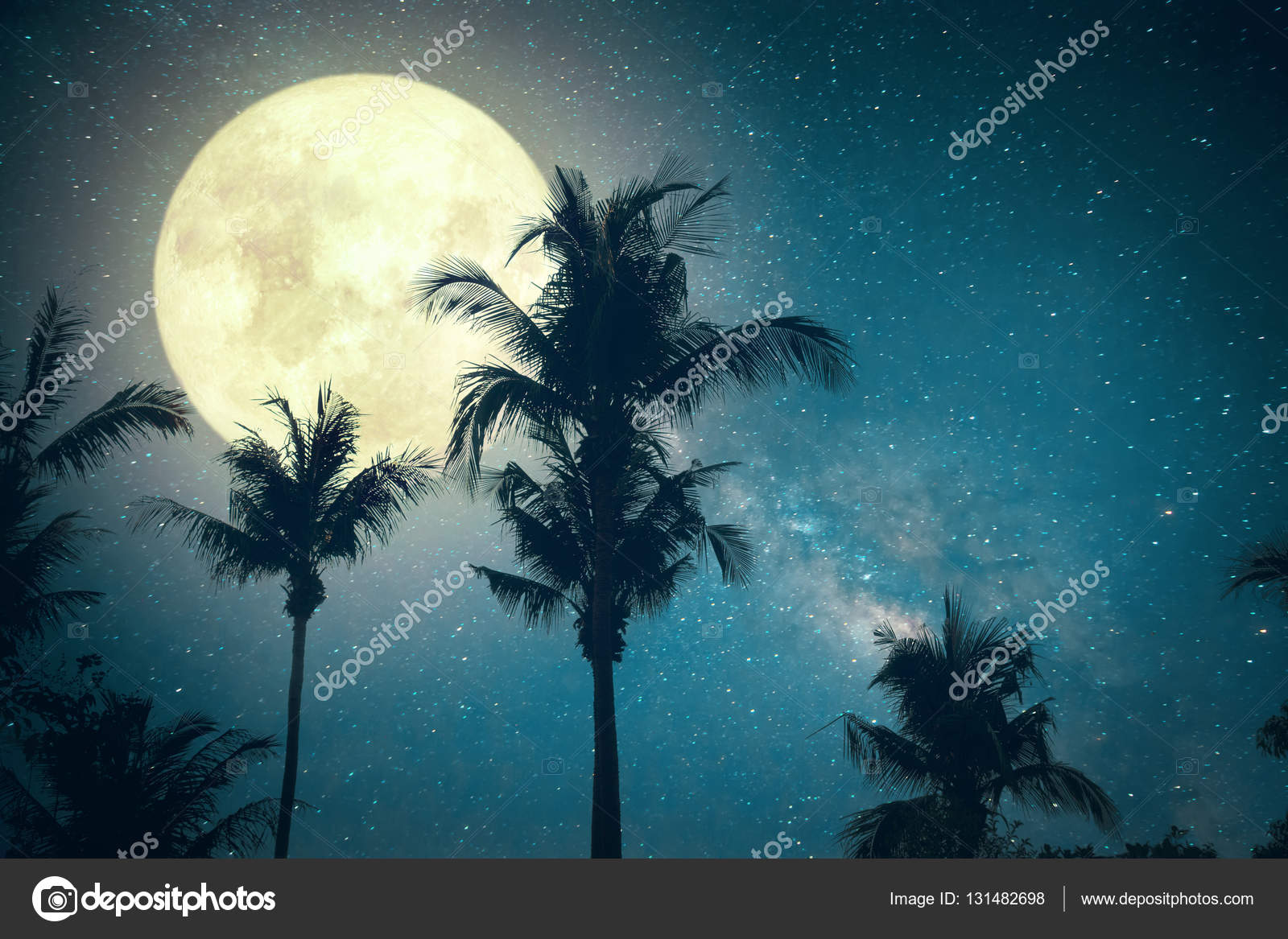Beautiful Fantasy Palm Tree Tropical Beach With Milky Way Star In Night Skies Wonderful Full Moon