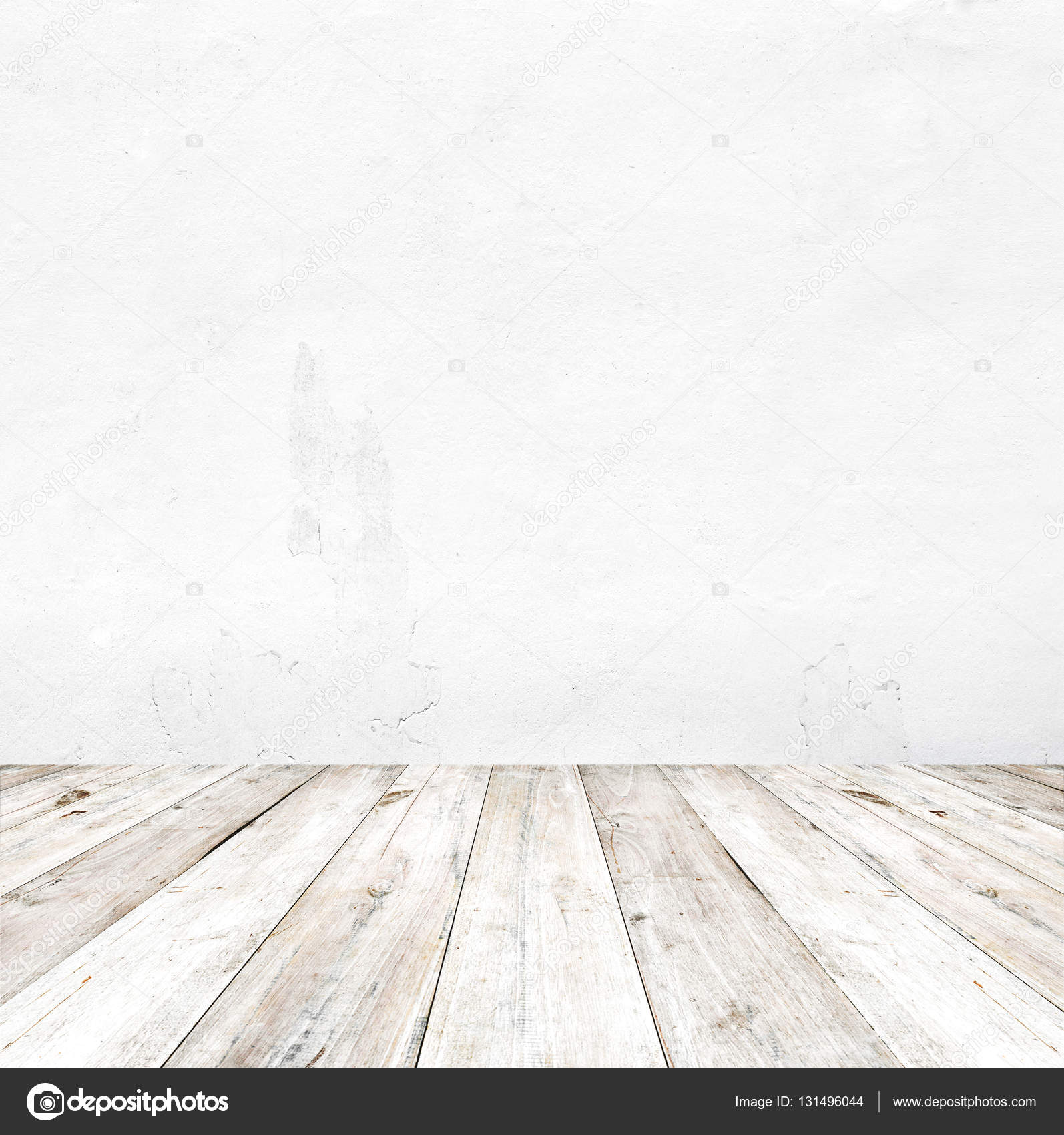 grijze grunge betonnen wand en oude houten vloer stockfoto