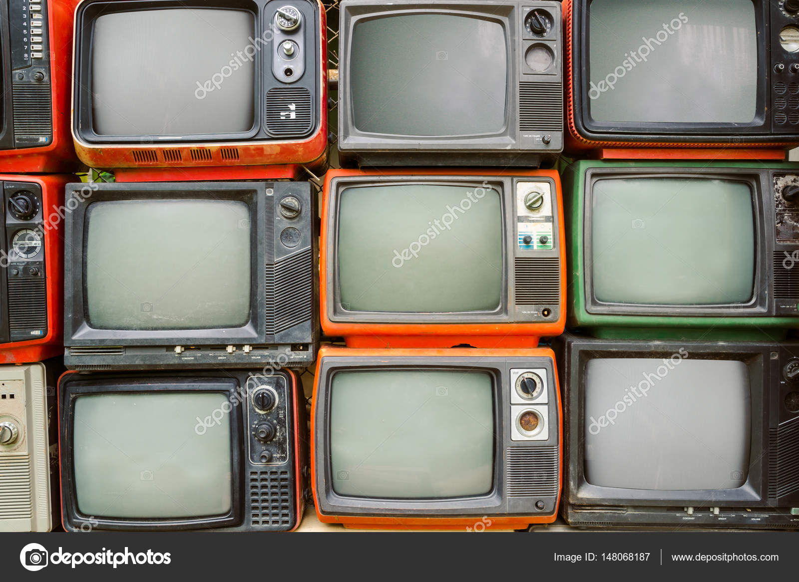 pattern wall of pile colorful retro television tv vintage filter effect style photo by jakkapan