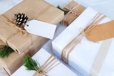 Handmade present gift boxes and rustic decoration