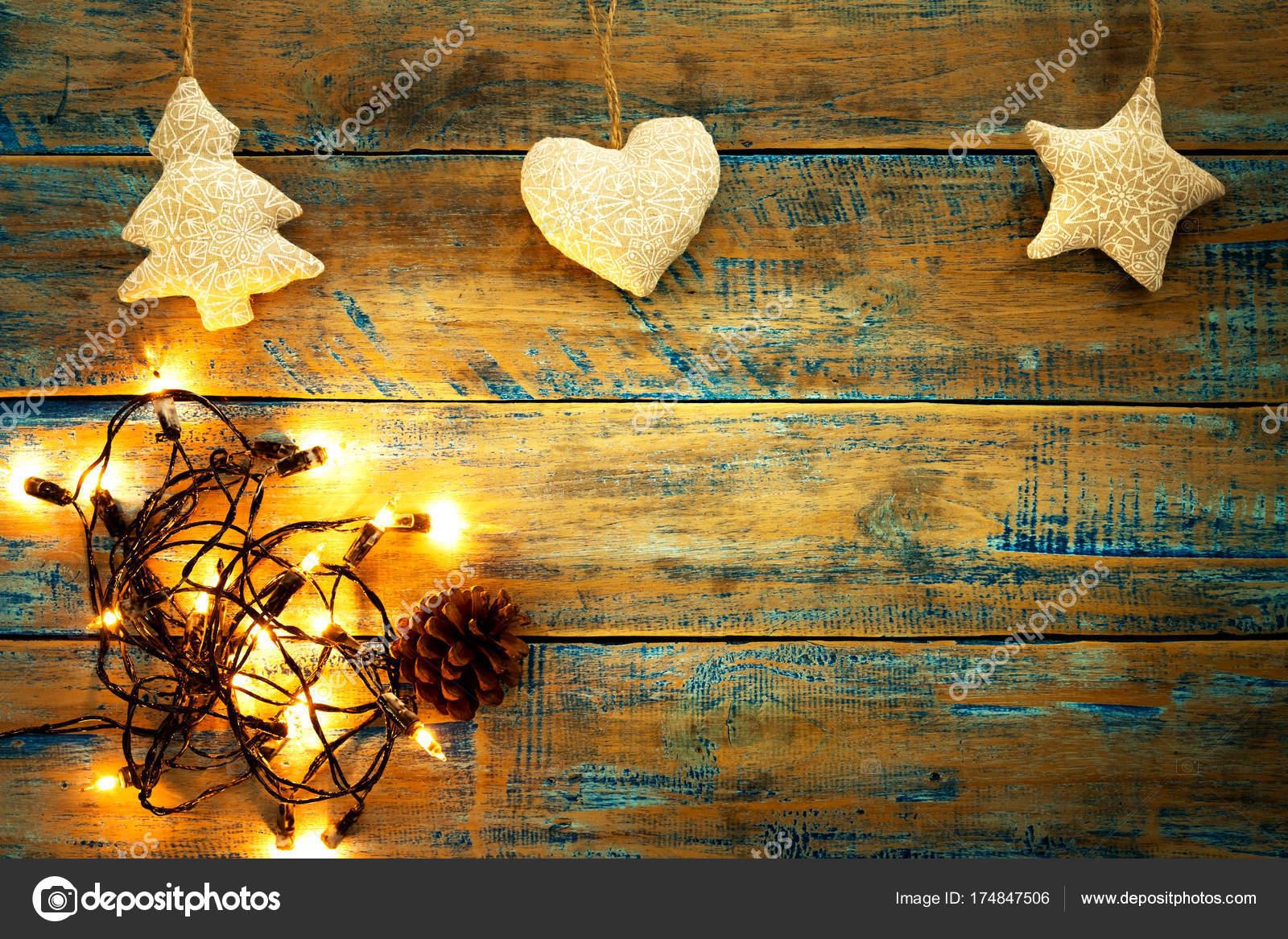 Christmas Lights Bulb Decoration Wood Table Merry Christmas Xmas ...