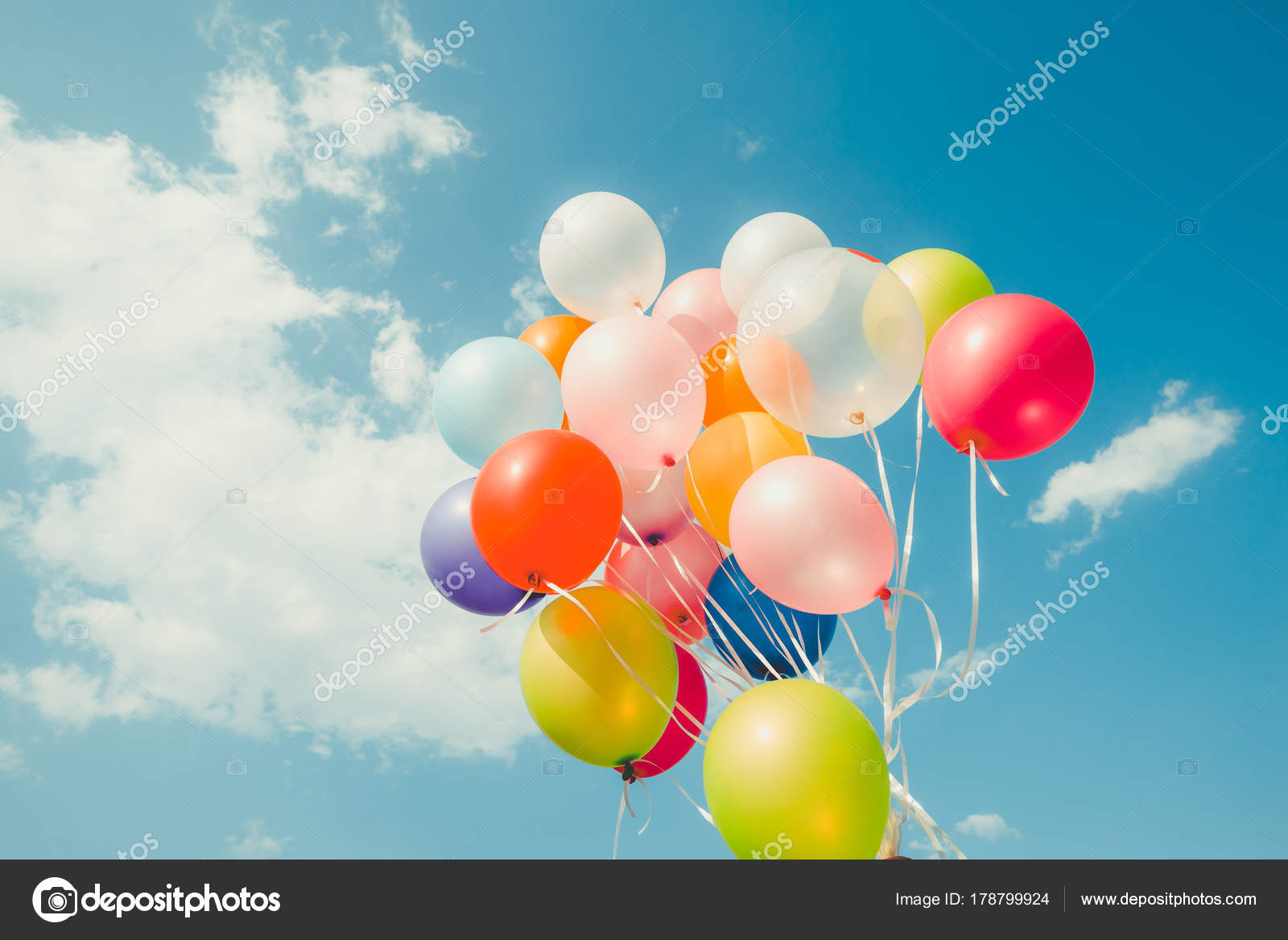 Bunte Luftballons Mit Einem Retro Instagram Filter Effekt Gemacht