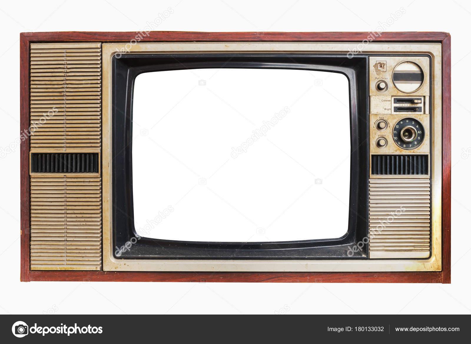 Televisión Vintage Viejos Con Pantalla Marco Aislar Blanco Con ...