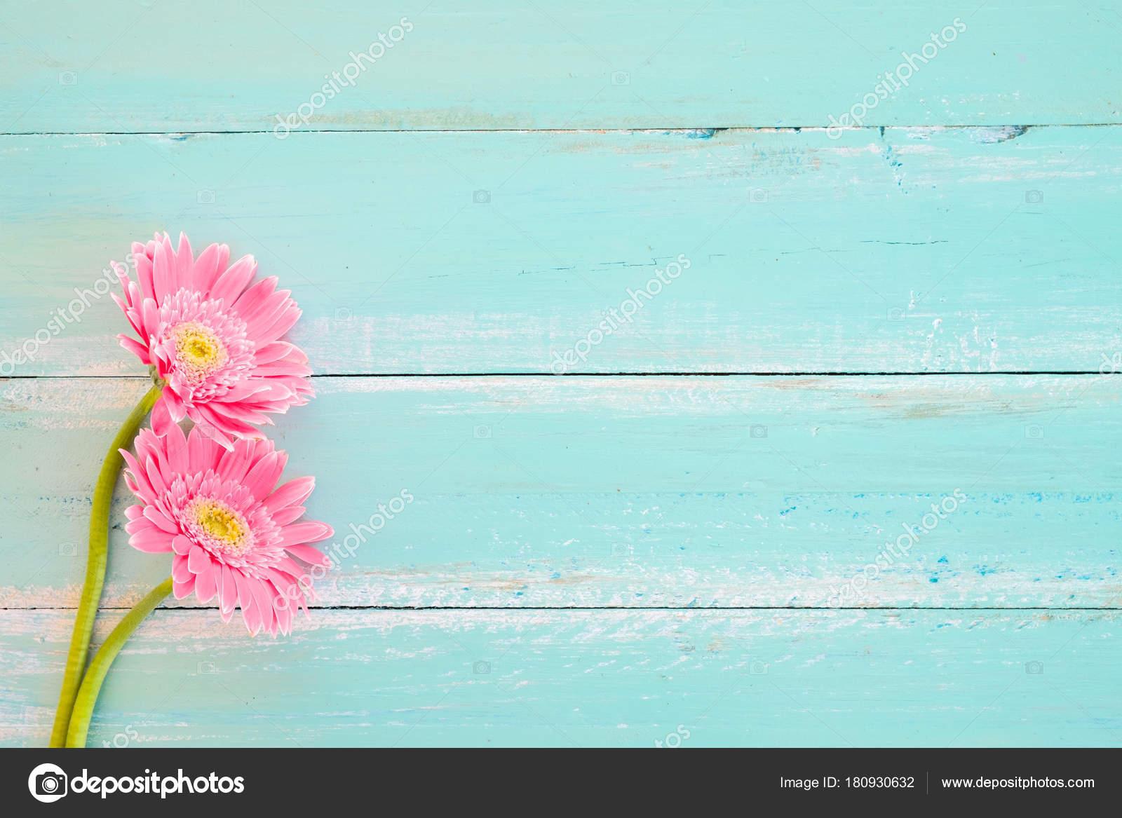 Flores rosadas vintage madera pintura azul fondo tonos - Tonos de pintura ...