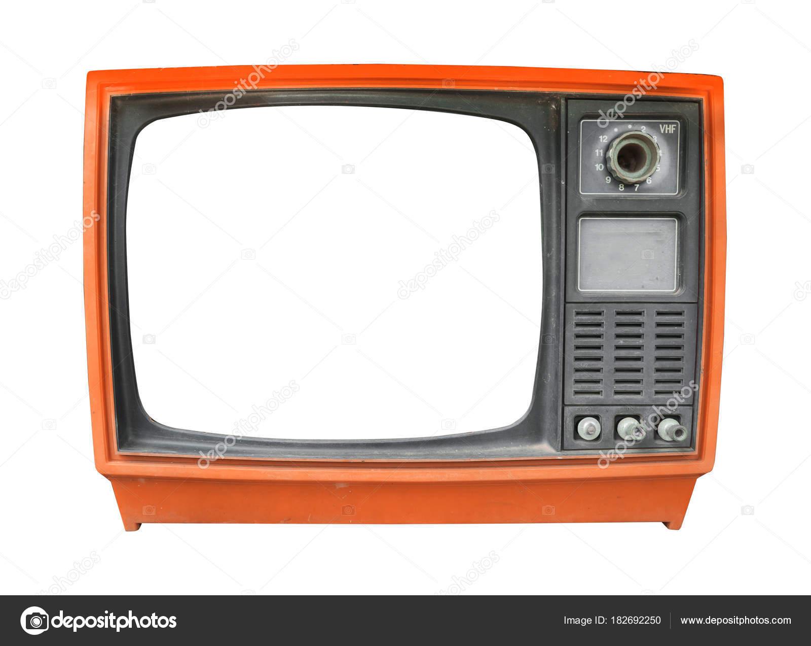 Televisión Retra Vintage Antiguo Con Pantalla Marco Aislar Blanco ...