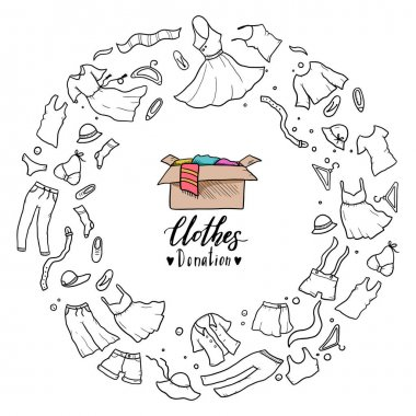 Hand drawn illustration of clothes donate, charity, care concept.