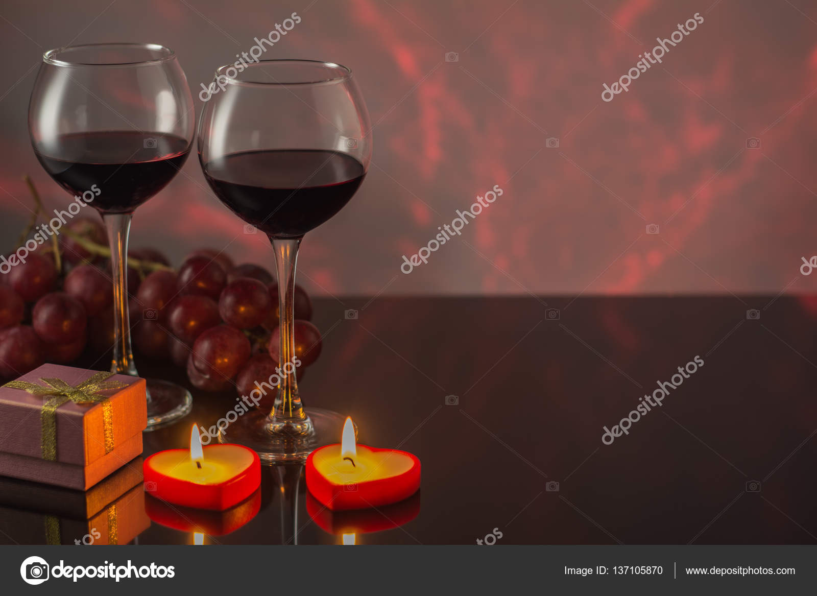 Valentine S Day With A Glass Of Red Wine Grapes Gift Candles