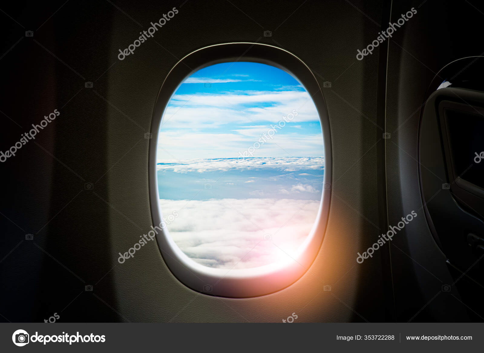 Black Background Copy Space Look Window Seat Frame Airplane Flight