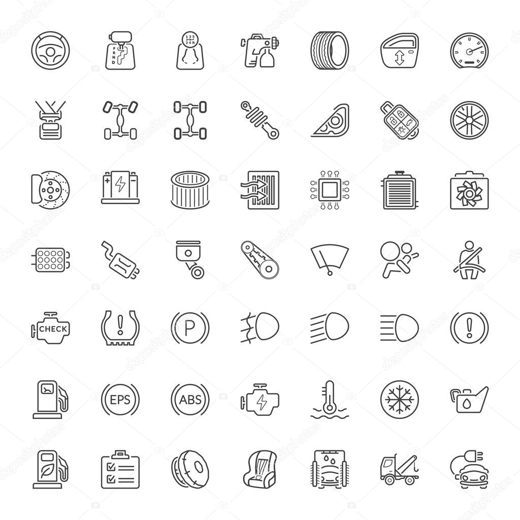 car parts and garage service line iconset — Stock Vector © art_co ...