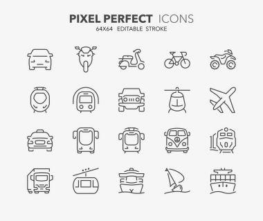 transport thin line icons