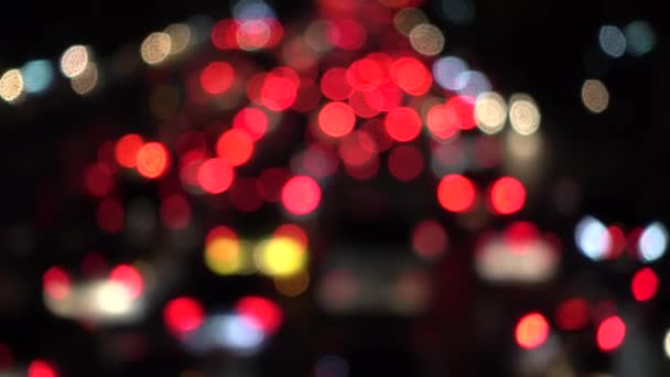 4K Bokeh of car lights  On the street at night Colorful Circles Video  Background Loop Glassy circular shapes perform a colorful dance  motion  background that is just perfectly suited for events