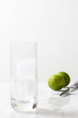 Glass with ice cubes, a knife and two limes. Gin tonic preparation on white background