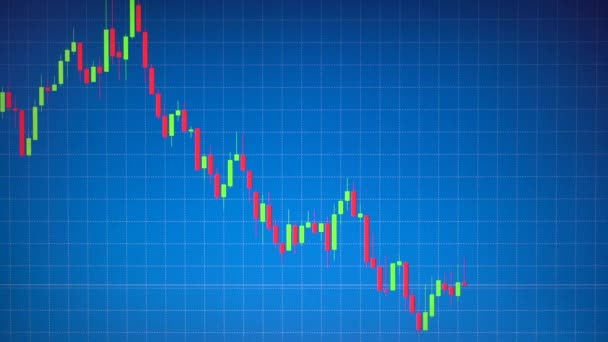Tőzsdei grafikon vagy gyertyatartó vagy Forex chart mozog a kék háttér tábla sorában. Üzleti koncepció, a pénzügy, befektetés, kockázat, pénz kereskedelem. Szia állásfoglalás footage 4k 3840 x 2160