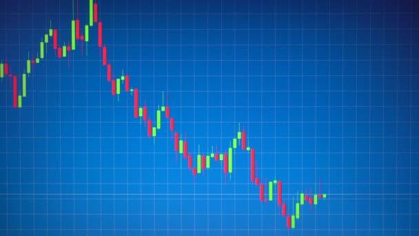 Burzovní graf nebo svícen nebo Forex graf na modrém pozadí řádku tabulky. Obchodní koncept o finanční, investiční, rizikové, peníze obchodování. Ahoj záběrů v rozlišení 4k 3840 x 2160