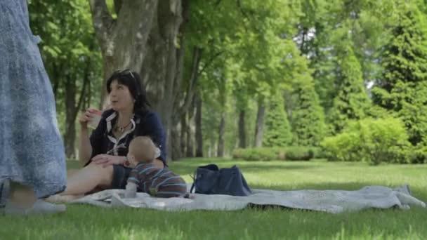 Három újszülött nő piknikezik a nyári parkban. A nagymamák boldogok, ha az unokájuk a zöld füvön ül..