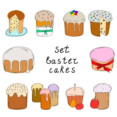 Set of Easter cakes.Contour drawing. Freehand drawing.10 cakes with icing, raisins, candied fruits, and topping.Cut the cake.Spring holiday of Easter.Vector