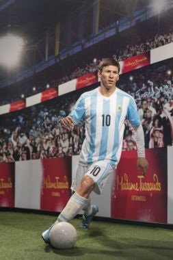 ISTANBUL, TURKEY, DECEMBER 19, 2017: Wax sculpture of Lionel Messi at Madame Tussauds Istanbul. Messi is an Argentine professional footballer who plays as a forward for Spanish club Barcelona.