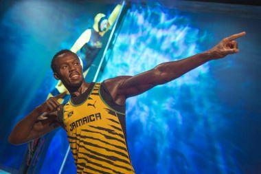 ISTANBUL, TURKEY, DECEMBER 19, 2017: Wax sculpture of Usain Bolt, a retired world record holder Jamaican sprinter, at Madame Tussauds Istanbul.