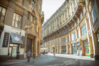 BUDAPEST, HUNGARY, JULY 12, 2015: People walking at Anker Street, famous old street with cafes and restaurants at Budapest, the capital and the most populous city of Hungary.