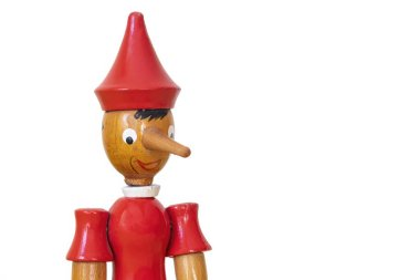 Close Up Head Shot Of A Wooden Pinocchio Toy, Isolated On White Background