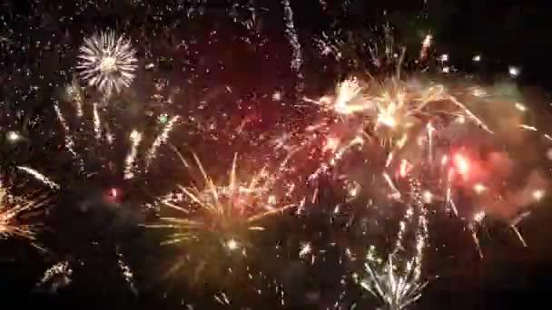 Novoroční ohňostroj multi na noční obloze
