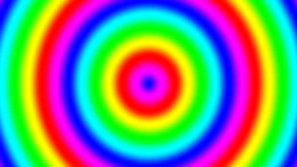 Rainbow spektrální přechodové kroužky pohybující se pomalu v bezešvé smyčka