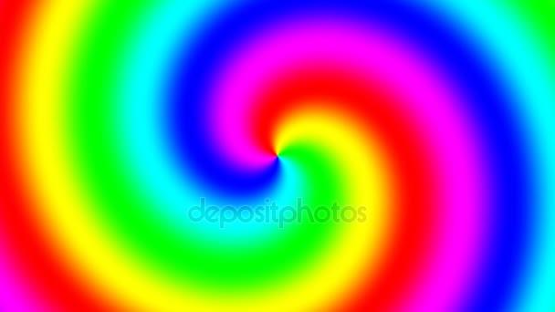 Rainbow spektrální spirála rotující pomalu proti směru hodinových ručiček, bezešvé smyčka