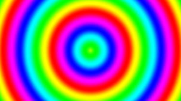 Rainbow spektrální přechodové kroužky pohybující se rychle ven, bezešvé smyčka