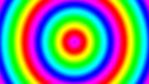 Rainbow spektrální přechodové kroužky pohybující se rychle v bezešvé smyčka