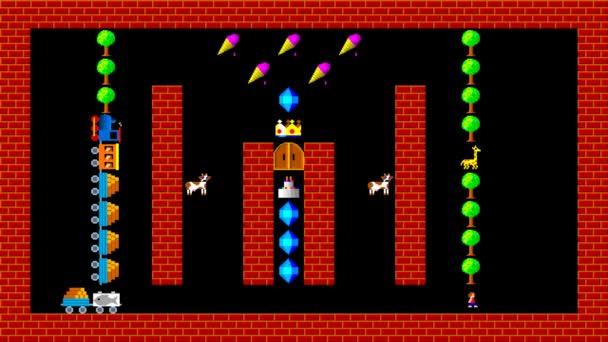 Vlak puzzle, retro styl nízkým rozlišením pixelated herní grafika animace, úroveň 10