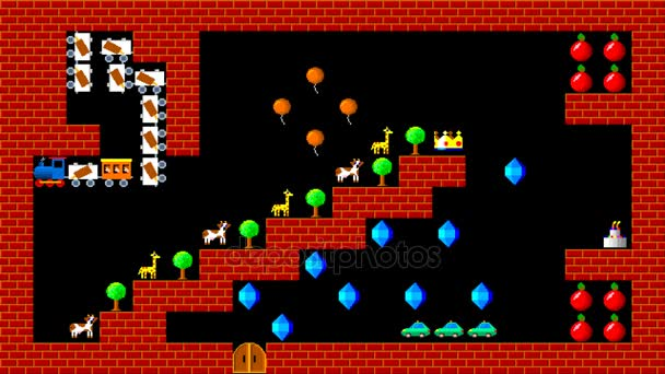 Vlak puzzle, retro styl nízkým rozlišením pixelated herní grafika animace, úroveň 13