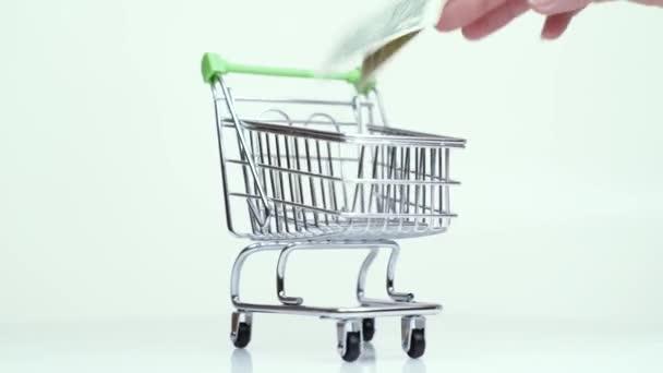 peníze jeden dolar v nákupním konceptu nákupního vozíku supermarket