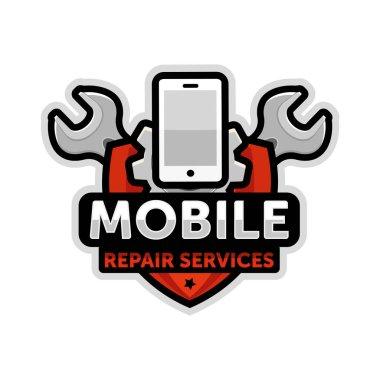 mobile repair logo emblem vector