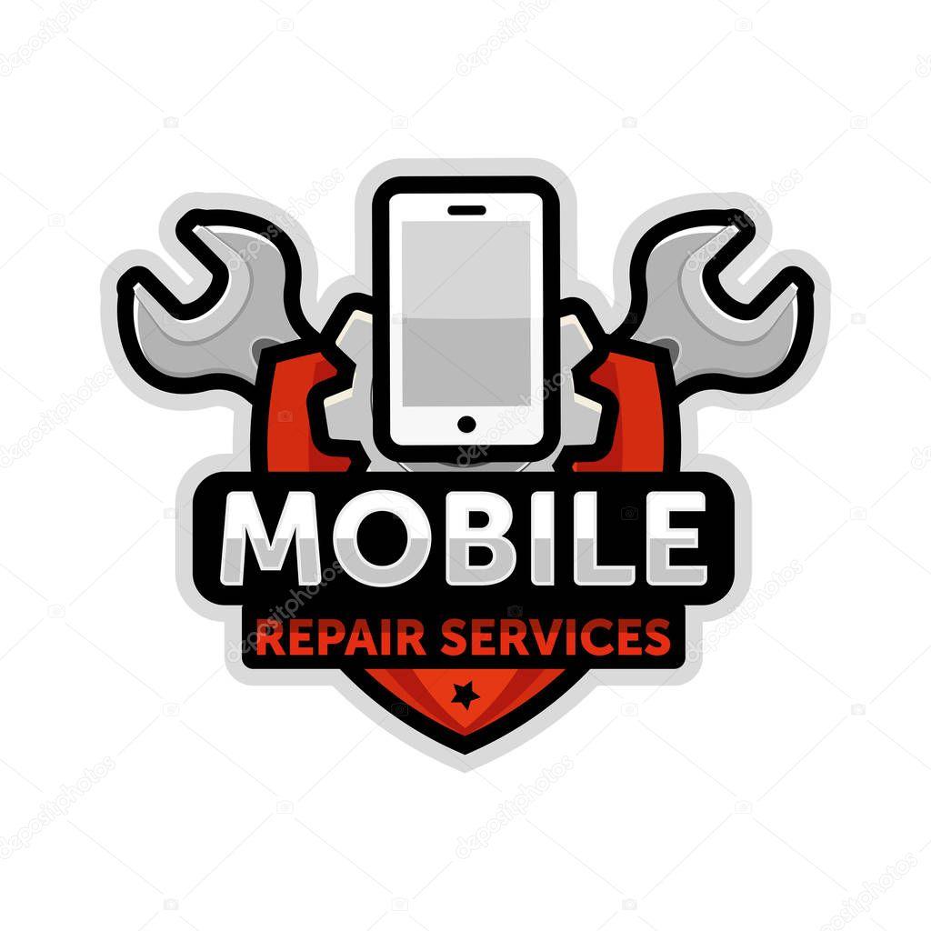 mobile repair logo emblem vector � stock vector