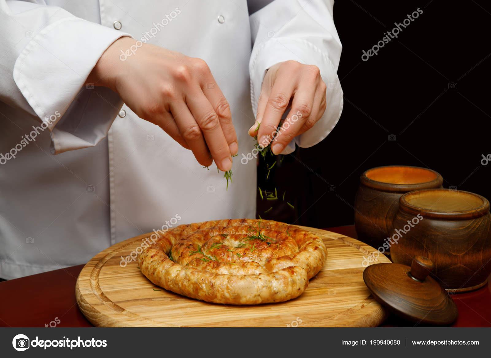 Cook sprinkle homemade sausage seasoning .– stock image