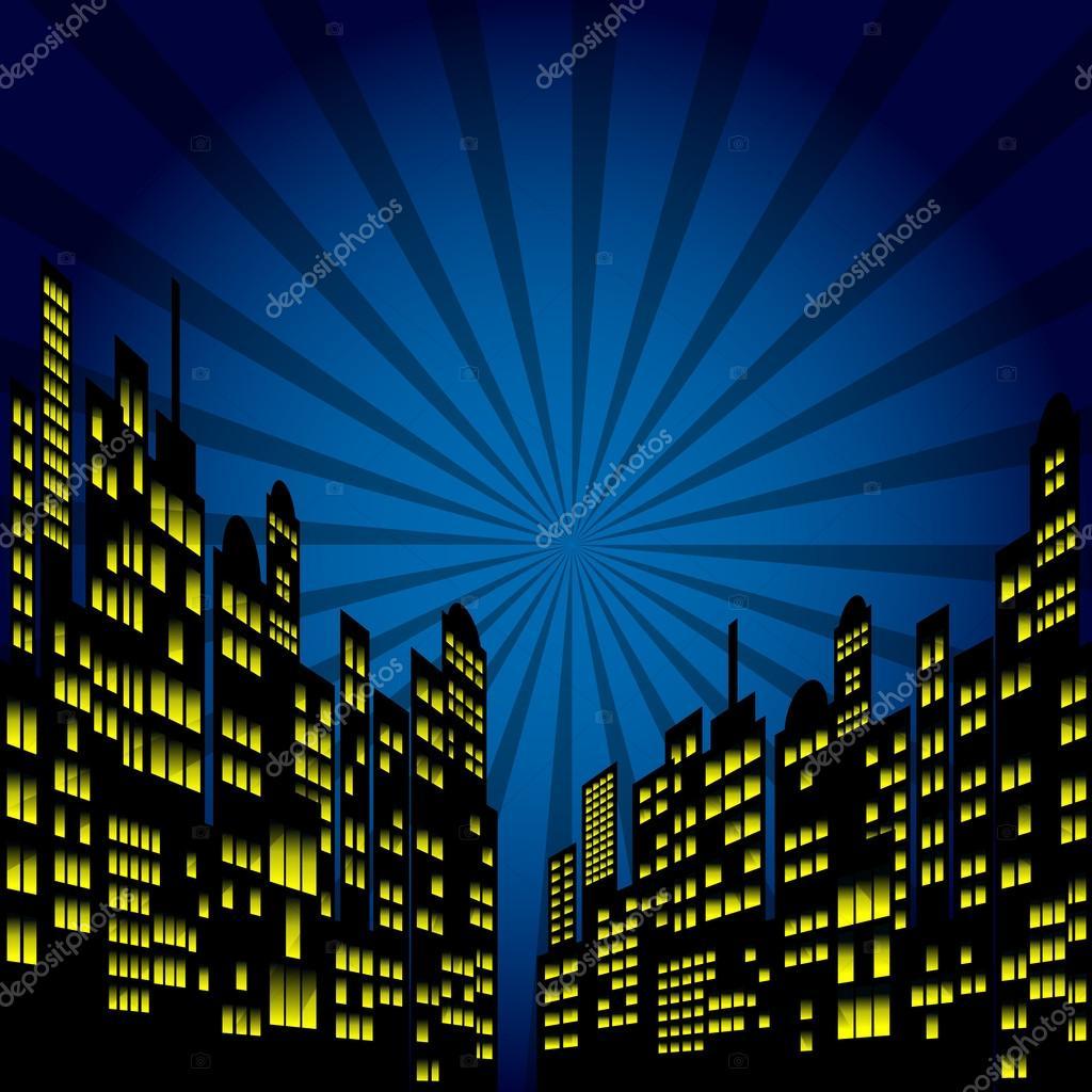 Ciudad De Noche De Estilo Dibujos