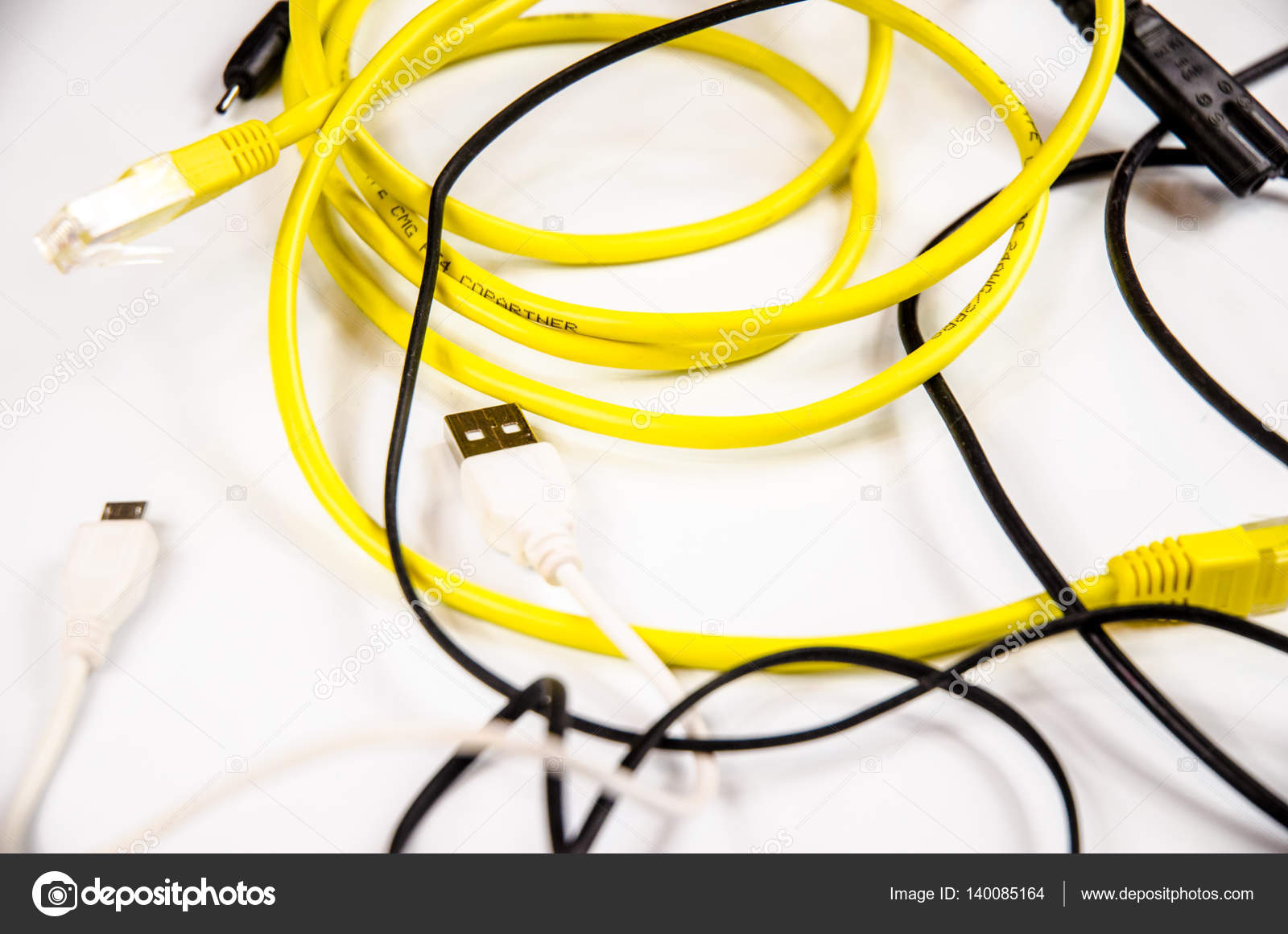 tangled wires and cables for home electronic — Stock Photo ...