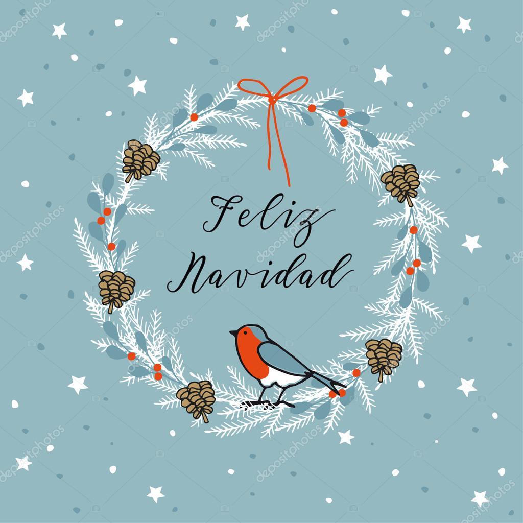 Vintage Merry Christmas Spanish Feliz Navidad Greeting Card