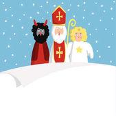 Mikulášská s čert, anděl a prázdného papíru. Roztomilý vánoční pozvání, karta, seznam přání. Plochý design, vektorové ilustrace