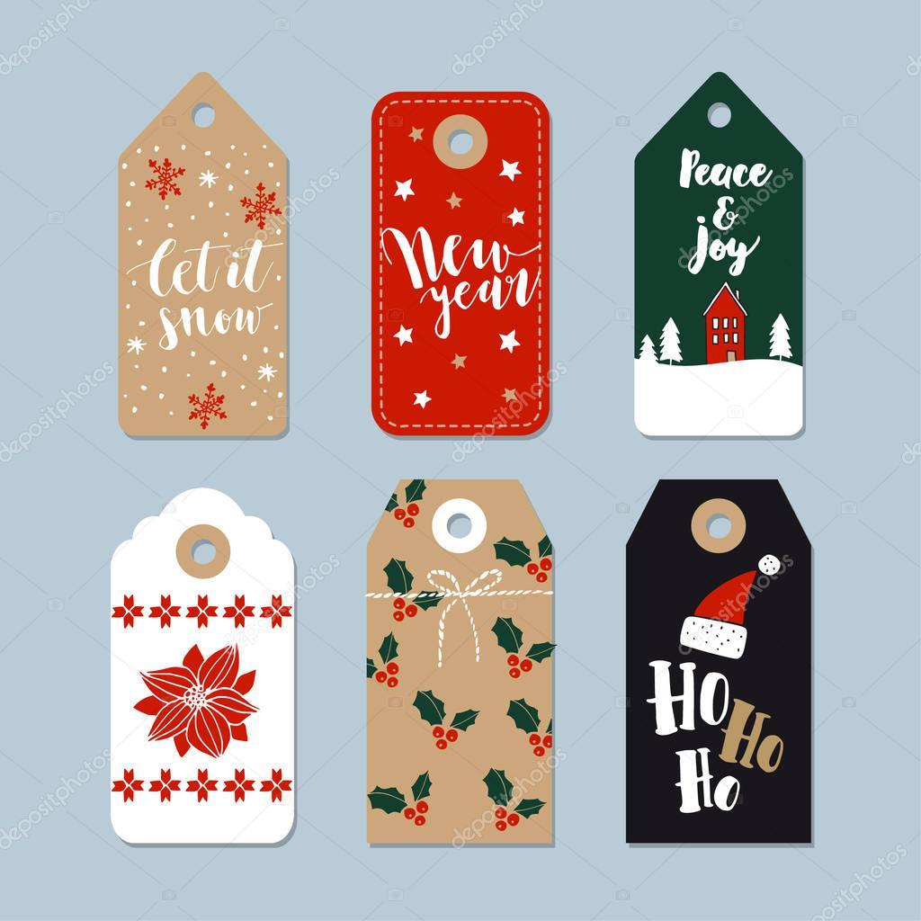 Vintage Weihnachtsgeschenk Stichwörter Satz. Handgezeichneten ...