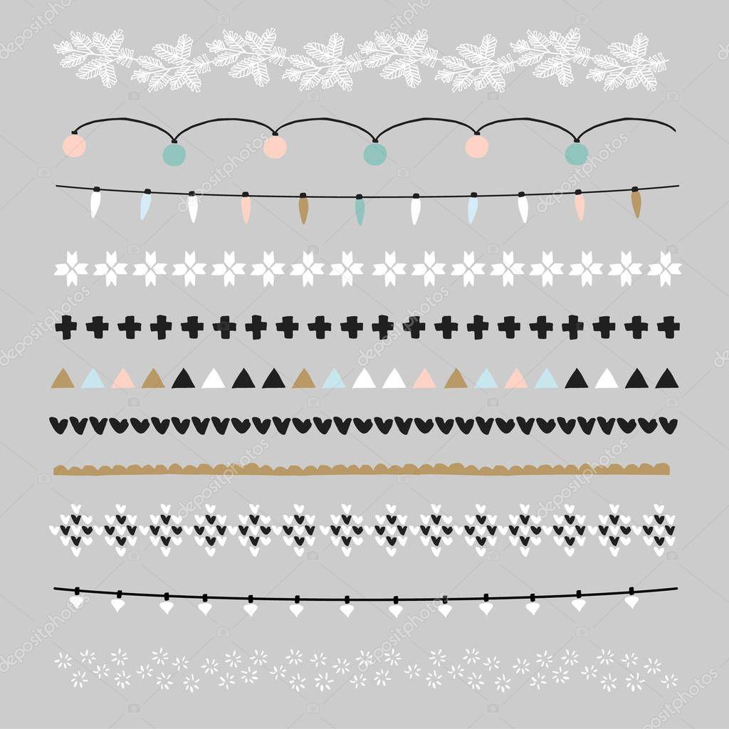 Set de pinceles y bordes de Navidad. Decoraciones de fiesta con ...