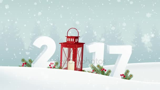 happy new year 2017 white winter landscape with forest numbers falling snow