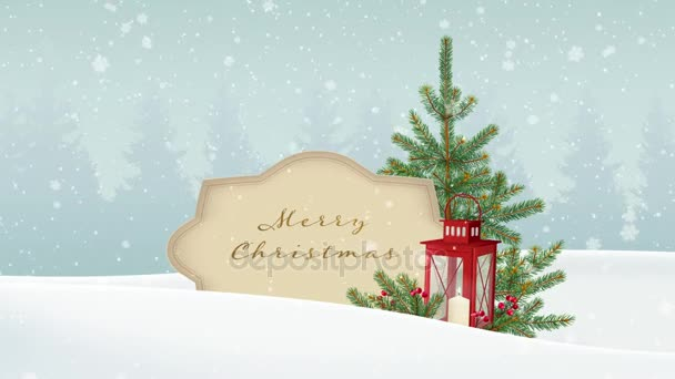 Vintage Vánoční pozadí. Bílé zimní krajiny s lesem, papír banner, padající sníh. Slavnostní dekorace s vánoční jedle, červené lucerny a bobule. HD animace