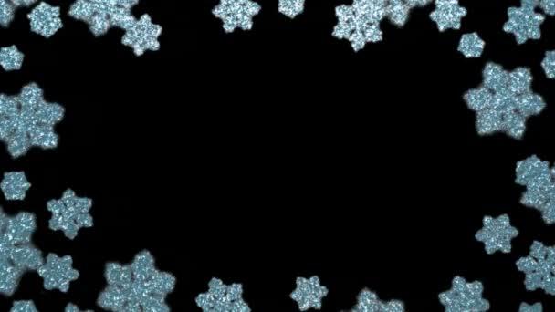 Slavnostní rám vyrobený z mihotajících se světel vločka. Zimní Vánoční pozadí, hranice webu. Opakování animace HD, bezešvé