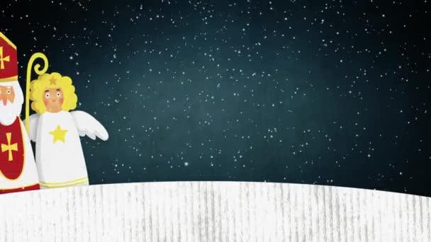 St. Nikolaus, Teufel und fliegenden Engel gehen. Europäische Weihnachten Tradition. Niedliche handgezeichneten Aquarell künstlerische Animation. Winter-Aufnahmen mit fallendem Schnee