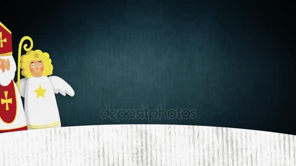 St. Nikolaus, Teufel und fliegenden Engel im Schnee wandern. Europäische Weihnachten Tradition. Niedliche handgezeichneten Aquarell künstlerische Animation. Winter nahtlose Schleife, HD-Filmmaterial