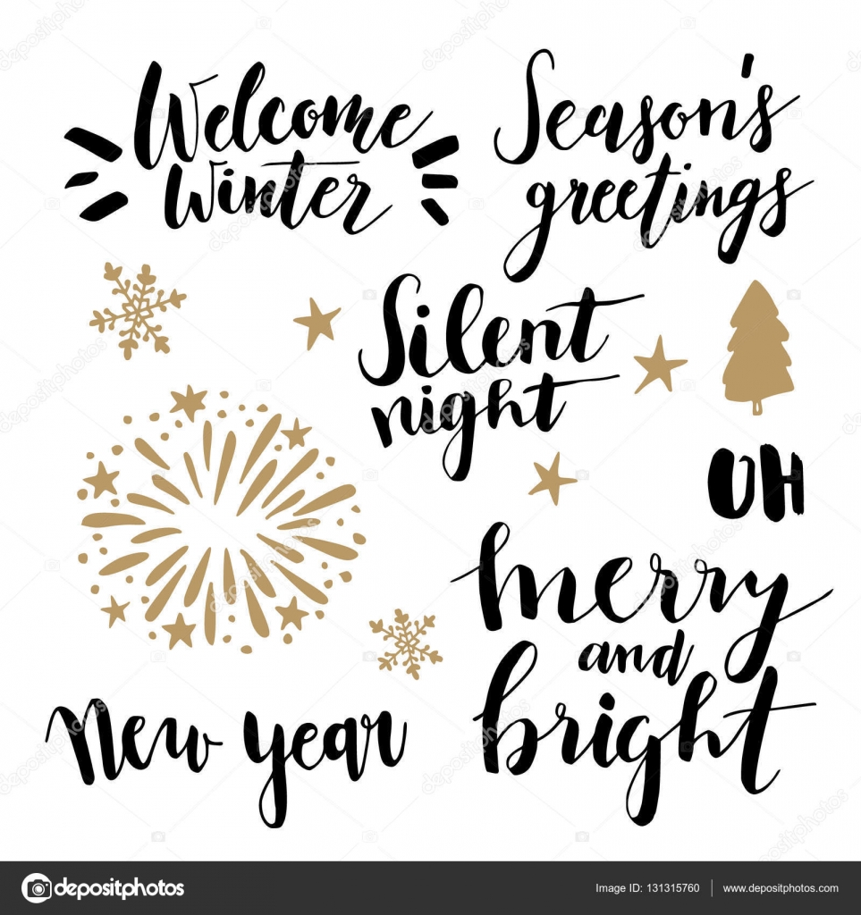 Christmas And New Year Lettering Set Hand Lettered Quotes For