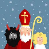Roztomilý Svatý Mikuláš, čert, anděl a padajícím sněhem. Vánoční pozvánka, vektorové ilustrace