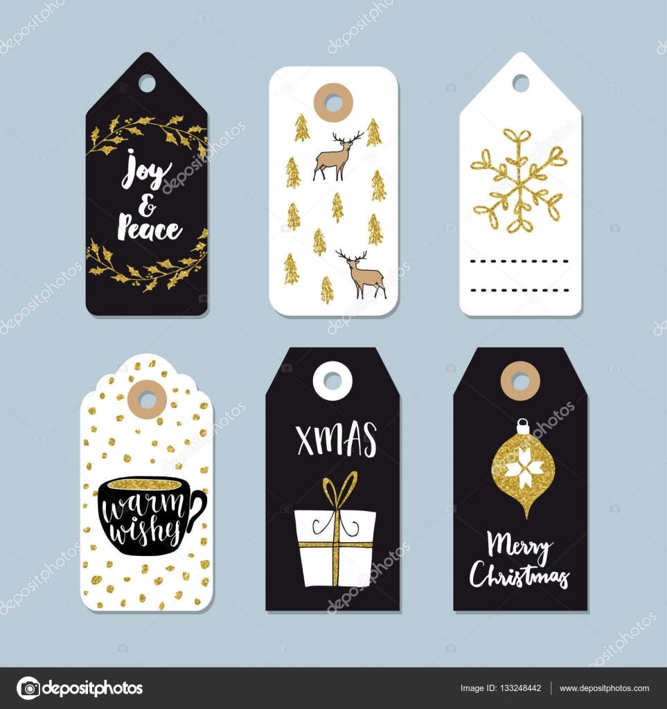 Vintage Weihnachtsgeschenk Stichwörter Satz. Gezeichnete Etiketten ...